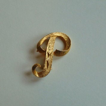 Mamselle Monogram Letter P pin Gold tone Brooch Lapel Pin