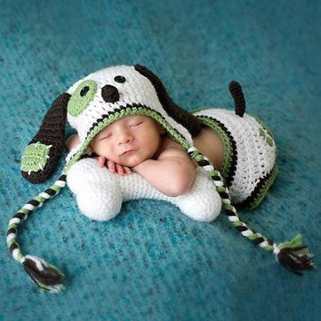 2pcs Newborn Baby Crochet Knit Photo Prop Cute Dog Hat + Briefs Outfits Costume Baby Cartoon Photography Prop