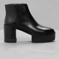 & Other Stories | Chunky Leather Ankle Boots | Black