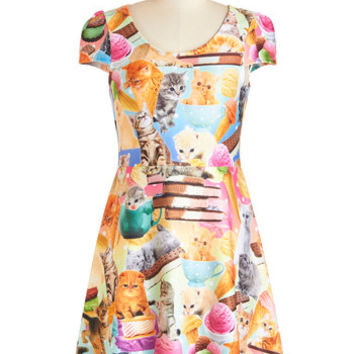 ModCloth Cats Mid-length Cap Sleeves A-line I Scream, Mew Scream Dress