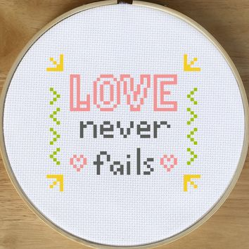 Love Never Fails Cross Stitch - Beginner Quote Cross Stitch Pattern