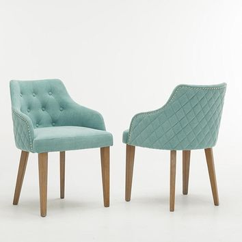 New Century® Set of 2 Contemporary Tufted Microfiber Accent Chairs