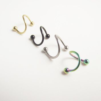 2pcs 316 Stainless Steel Spiral Twister Rings with Ball Earring Body Piercing Jewelry Gold Black  Tragus Helix Earring