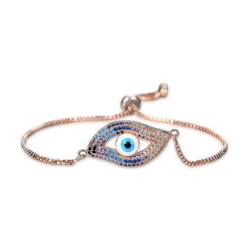 Halloween Plated Rose Gold Bracelet Cubic Zirconium Evil Eye Adjustable Terror Hand Chain Birthday Party