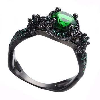 AMORUI Vintage Party Women Ring Green CZ Fashion Black Gold Color Wedding Engagement Rings for Women/Men Jewelry Bijoux Femme