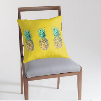 Yellow pillow Square throw pillow Indoor pillow with beautiful pineapples prints Luxury and stylish