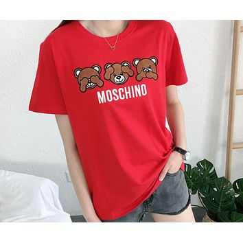 MOSCHINO 2018 summer new three bear patch embroidered cotton round neck short sleeve Red
