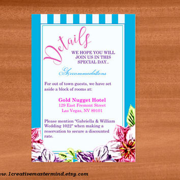 DIY Wedding Template detail card, Instant Download, Editable PDF, Printable, Digital, Floral with Blue and White Stripes #1CM80-4