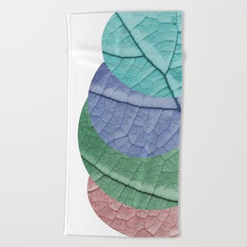 Pastel Leaf Collage Beach Towel by ARTbyJWP