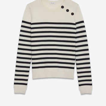 MARINIÉRE Sweater in Ivory and Black Striped Wool