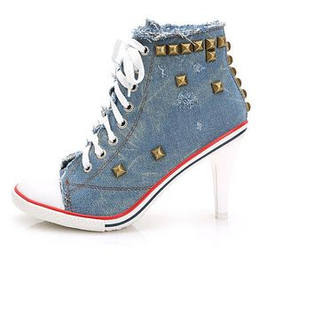 Women Canvas Shoes Denim High Heels Rivets Shoes