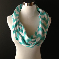 NEW Infinity Jersey Knit Tiffany Blue/White Chevron Scarf  SUPER SOFT