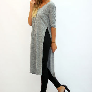 Grey Side Split Jersey Top – Pretty Lavish