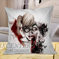 Harley Quinn and The Joker Love on Square Pillow Cover