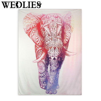Polyester Wall Hanging Elephant Indian Mandala Tapestry Bohemian Style Tapestry Bedspread Dorm Cover Bedsheets Home Decoration