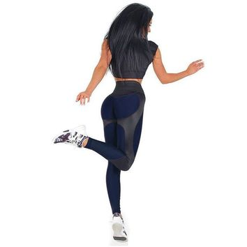 Patchwork Yoga Pant Leggings Gym Tights 2018 Athleisure Push Up Leggings