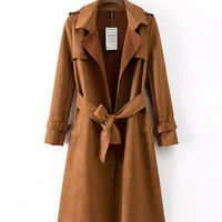 Notched Collar Long Sleeve Belted Suede Midi Trench Coat