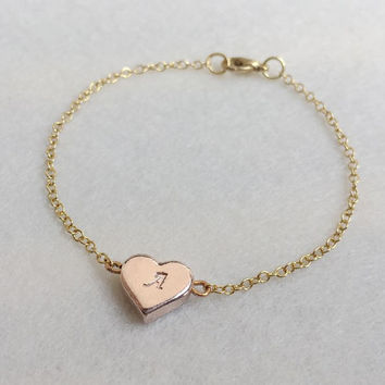 Heart bracelet initial Bracelet, Gold initial bracelet, heart shape bracelet, heart initial bracelet Personalized bracelet, Bridesmaid Gift