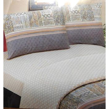 DaDa Bedding Geometric Striped Multi-Color Flat Sheet & Pillow Cases Set (FS8279)