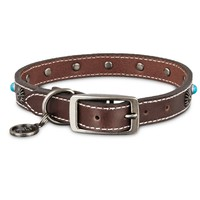 Bond & Co. Turquoise & Brown Leather Stud Dog Collar, For Neck Sizes 15-18, Medium | Petco Store