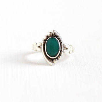 Vintage Sterling Silver Turquoise Blue Green Stone Ring - Retro Size 5 1/4 Hallmarked Bell Trading Co Southwestern Jewelry