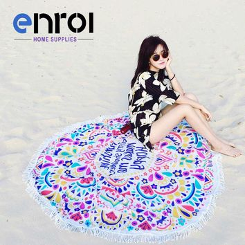Round Beach towel Soft And Quick-Drying Bath towel 160cm Diameter With tassels Yoga mat The table cloth Freeshipping