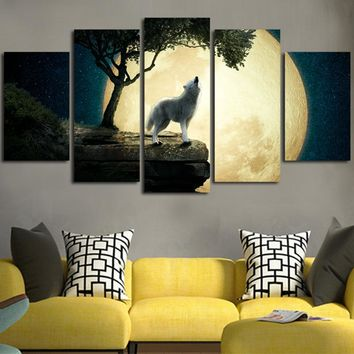 Wolf In Full Moon Night Wall Art Canvas