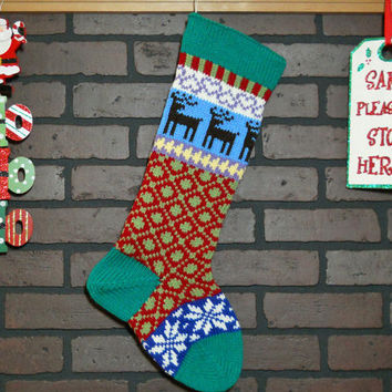 Personalized Hand Knit Christmas Stocking in Kelly Green with Reindeer and Snowflakes, colorful stocking, Fair Isle stocking