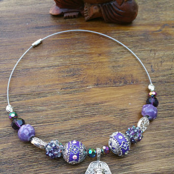 Glam Collection - One of a kind Silver Tone Ganesha Pendant/Purple Precious Beads Hand Made