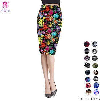 Women  Fashion Summer Pencil Skirt  High Waist Floral Printing Midi Skirt  Saia Women  Casual Skirt