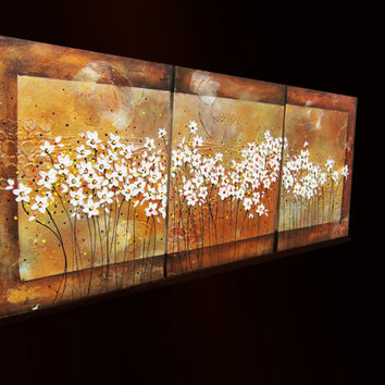 Large original metallic textured abstract acrylic palette knife floral daisies painting wall art canvas