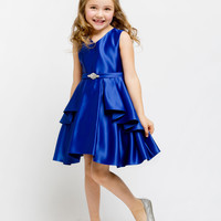 Elegant Satin Pleated Dress with Brooch