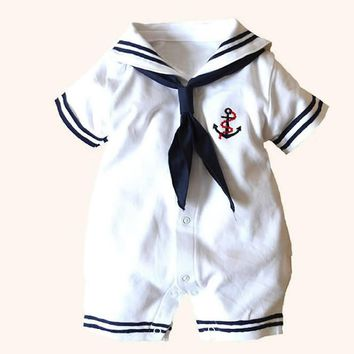White Navy Sailor uniforms summer baby rompers Short sleeve