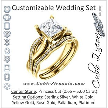 CZ Wedding Set, featuring The Louisa engagement ring (Customizable Princess Cut Design with Twisting Split Pavé Band and Underhalo Accents)