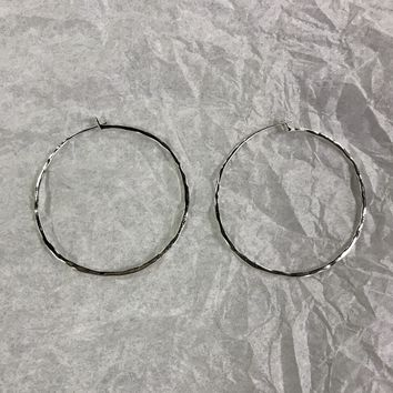 Silver Round Metal Earring