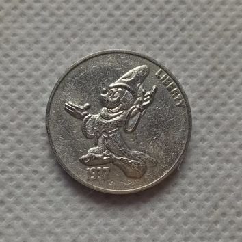 Hobo Nickel Coin RARE 1937-S BUFFALO DISNEY MICKEY