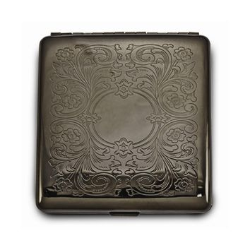 Brass-tone Floral Etched (holds Pack Kings) Cigarette/card Case