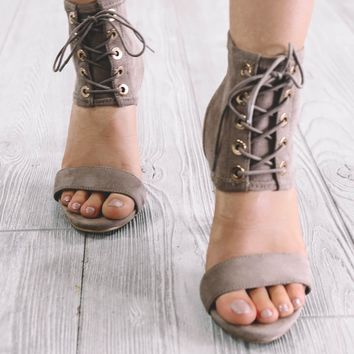 All Along Taupe Lace Up Heels