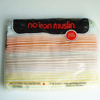 Muslin Twin Fitted Sheet in Package Stripe Design New Old Stock Orange Blue Yellow Tan  NIP Sheet Vintage