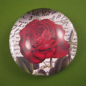 Bourbon Red Rose and Script Round Large Glass Dome Paperweight Floral Home Decor June Birthday