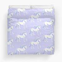 'Lavender and White Unicorns Pattern' Duvet Cover by Abigail Davidson