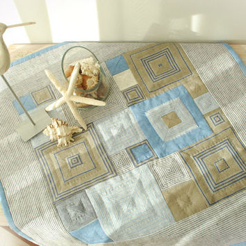 Hand Quilted Pure Linen Table Runner-Handmade Patchwork Table Top-Nautical Flax Table Decor-Gift Ideas-Blue White Gray Geometrical
