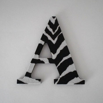 ZEBRA PRINT LETTERS - Handpainted Wall Letters, Initials or Words w/ Zebra Print Eco Felt in A-Z