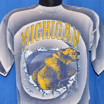 90s Michigan University Wolverines All Over Print t-shirt Large