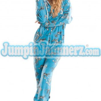 Blue Bugs Bunny Hooded Footed Pajamas Footie PJs Onesuits One Piece Adult Pajamas JumpinJammerz.com