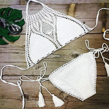 White Lace Crochet Bikini Set
