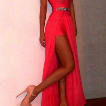Red Strapless Asymmetric Maxi Dress