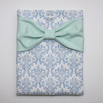 MacBook Pro or Air Sleeve / Laptop Case - French Blue and White Damask with Mint Bow - Double Padded