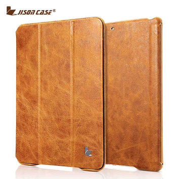 Jisoncase Vintage Smart Tablet Cover For iPad 9.7 2017 Genuine Leather Cases Magnet New for iPad Air 1 Air 2 9.7 inch Auto Sleep