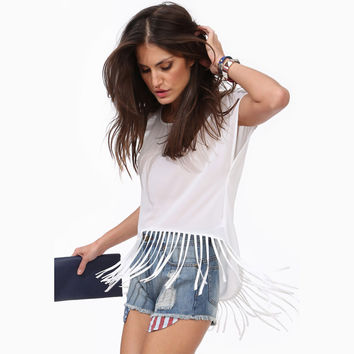 Short-Sleeve Fringed Chiffon Blouse